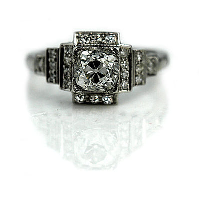 Old Mine Cut Diamond Engagement Ring with Side Tiered Stones