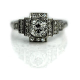 Vintage Mine Cut Diamond Halo Engagement Ring