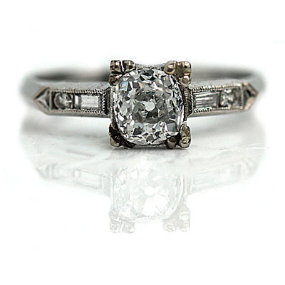 Antique Mine Cut Engagement Ring with Baguette Diamonds