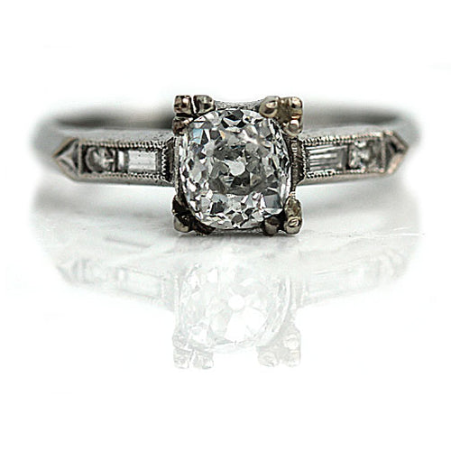 Art Deco GIA 1.11 Carat Mine Cut Diamond Ring I SI1
