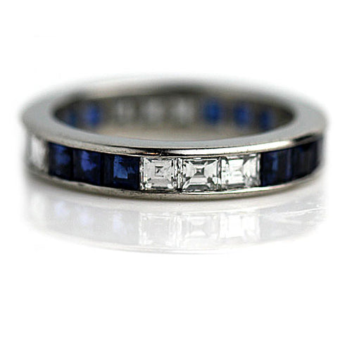 Vintage Square Cut Sapphire and Diamond Wedding Band