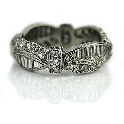 Vintage Round & Baguette Diamond Eternity Band