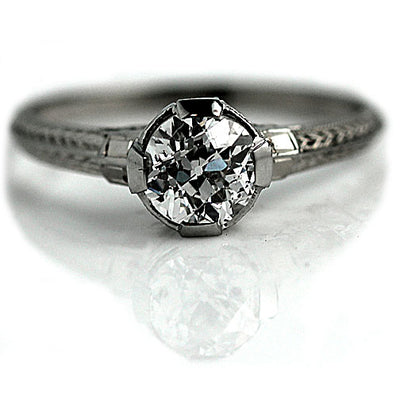 Basket Setting Solitaire Engagement Ring with Engravings