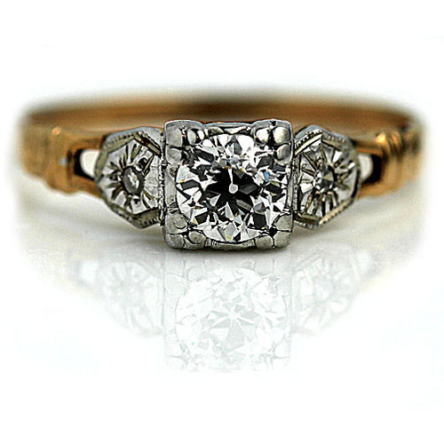 Vintage .50 Carat Two Tone Diamond Ring Circa 1940's