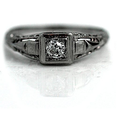 Art Deco Diamond Solitaire Ring .15 Carat