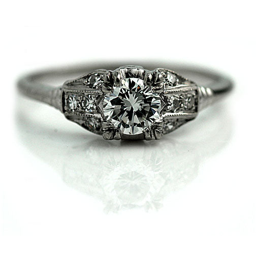 Transitional Cut Diamond Platinum Engagement Ring