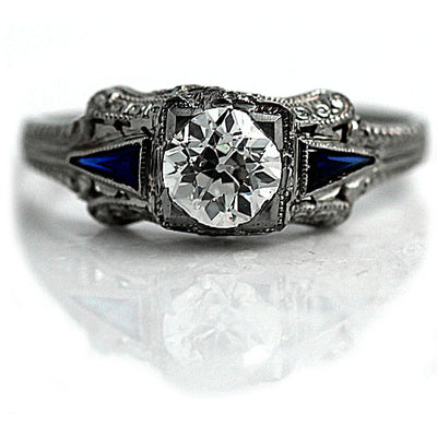 Art Deco Diamond Engagement Ring with Sapphire Accents - Vintage Diamond Ring