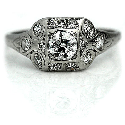 Art Deco Bezel Set Diamond Engagement Ring with Filigree Engravings