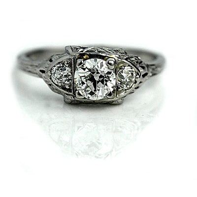 Art Deco Engagement Ring with European Cut Diamonds