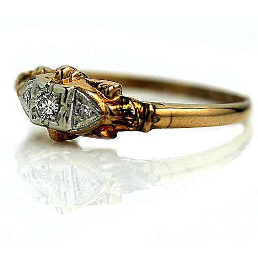 Vintage .15 Carat Two-Tone Diamond Ring