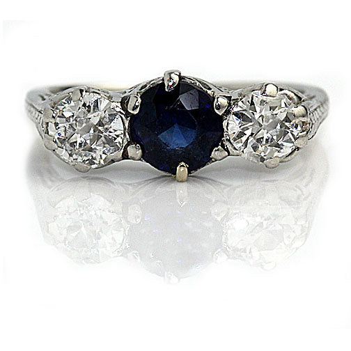 Vintage Three Stone Sapphire Diamond Platinum Ring