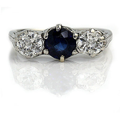 Vintage Synthetic Sapphire & Diamond Engagement Ring