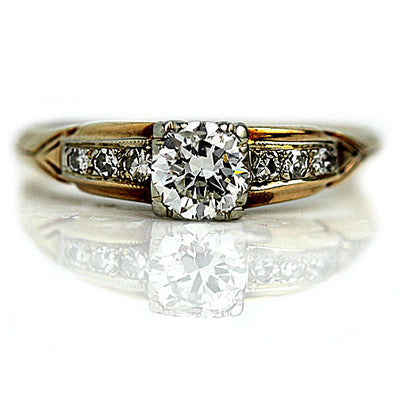 Two Tone .50 ct Diamond Engagement Ring with Side Stones