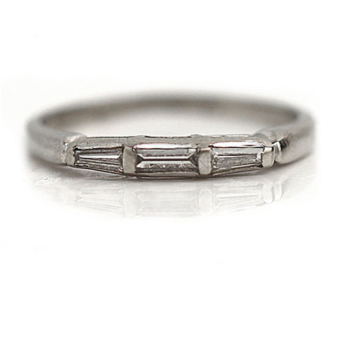 Vintage Baguette Diamond Wedding Band