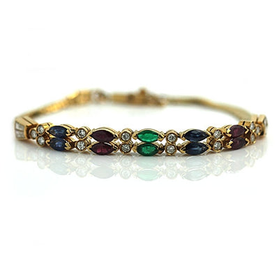 Estate Ruby Sapphire and Emerald Diamond Bracelet - Vintage Diamond Ring
