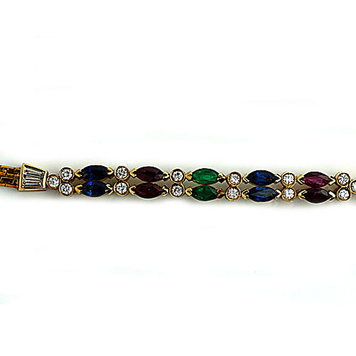 Estate Ruby Sapphire and Emerald Diamond Bracelet