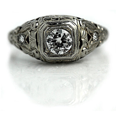1920s Floral Engraved Diamond Engagement Ring