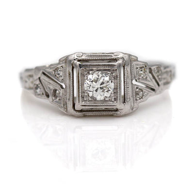 Antique Square Diamond Engagement Ring