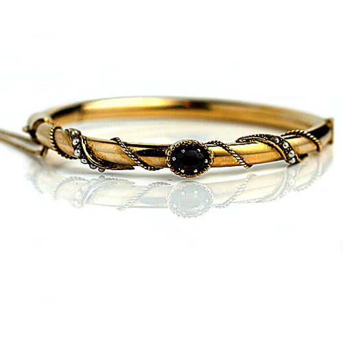 Estate Yellow Gold Topaz Pearl Bangle Bracelet