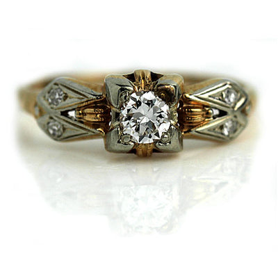 Low Profile Antique Diamond Engagement Ring