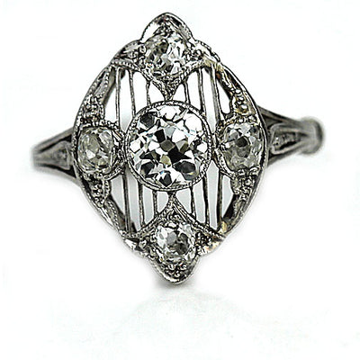 Vintage Open Faced Edwardian Engagement Ring