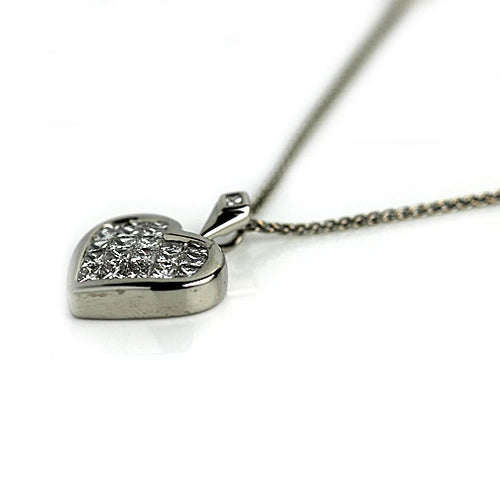 1.75 Carat Vintage Invisible Set Diamond Heart Pendant