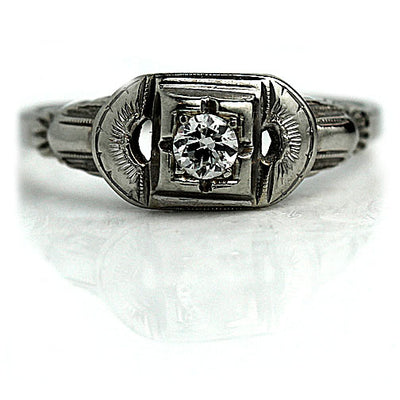 Classic Diamond Engagement Ring with Engravings