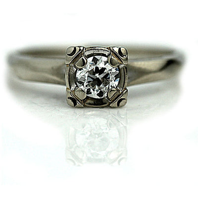 Wide Band Solitaire Engagement Ring