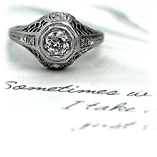 1930s Octagon Engagement Ring with Side Diamonds