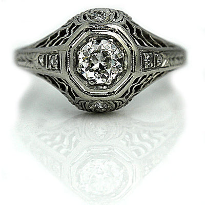 Antique Platinum Engagement Ring with Side Diamonds
