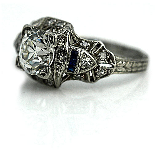 Art Deco 1.10 Carat Diamond Sapphire Platinum Ring