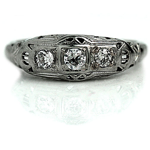 Stackable White Gold 3 Diamond Engagement Ring