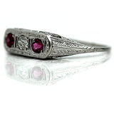 Art Deco Three Stone Diamond Ruby Ring