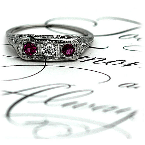 Diamond & Synthetic Ruby Engagement Ring