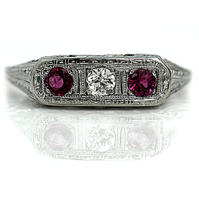 Vintage Diamond & Synthetic Ruby Engagement Ring - Vintage Diamond Ring