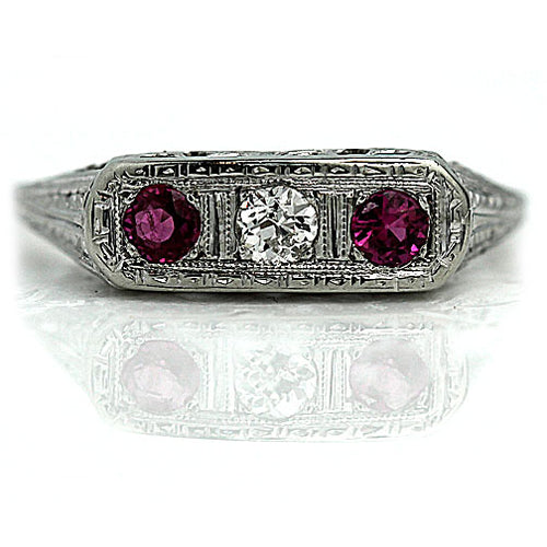 Vintage Rectangular Diamond & Ruby Engagement Ring