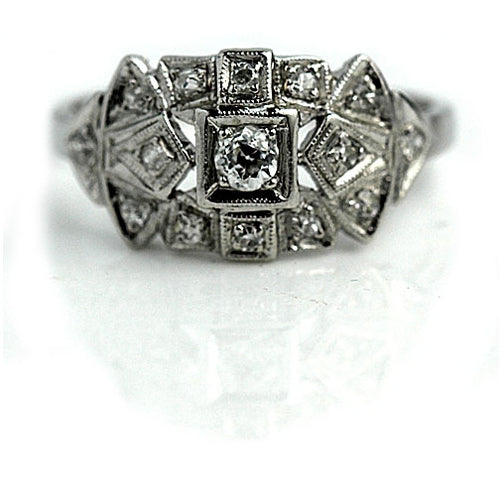 Art Deco Diamond Platinum Dome Ring