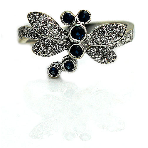 Sapphire and Diamond Dragonfly Ring Circa 1970's