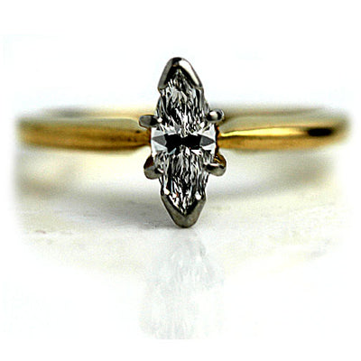 1970s Vintage Marquis Diamond Engagement Ring