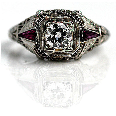 Vintage Diamond & Ruby Engagement Ring - Vintage Diamond Ring