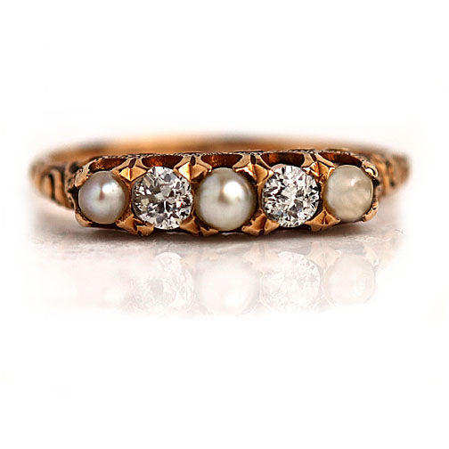 Victorian Rose Gold Diamond and Pearl Wedding Ring