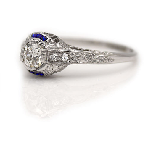 .60 Carat Art Deco Diamond Sapphire Platinum Ring