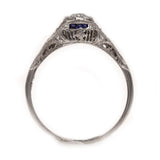 Vintage Diamond & Sapphire Filigree Engagement Ring