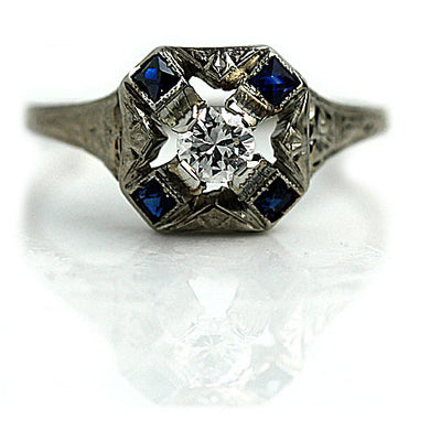 Art Deco Diamond Ring with Sapphires