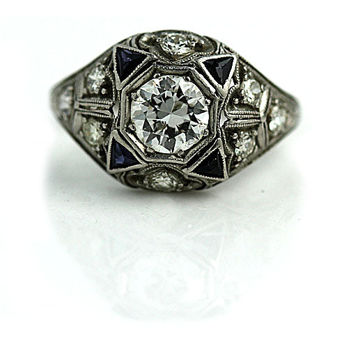Four Point Star Diamond & Sapphire Ring