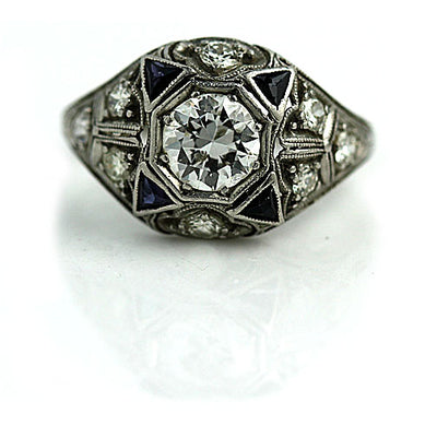 Four Point Star Diamond & Sapphire Engagement Ring