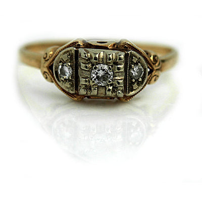 1940s Antique Two Tone Diamond Promise Ring