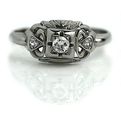 Classic Art Deco Diamond Engagement Ring with Side Stones