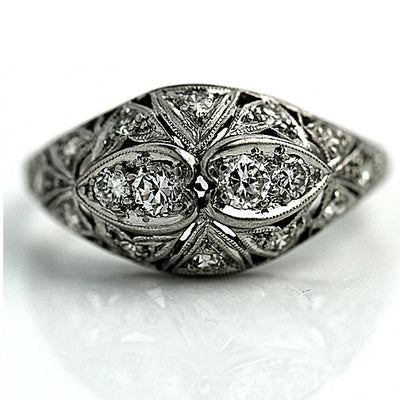 Intricate Antique Diamond Engagement Ring in Platinum