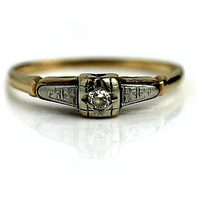 1950s Two Tone Diamond Engagement Ring